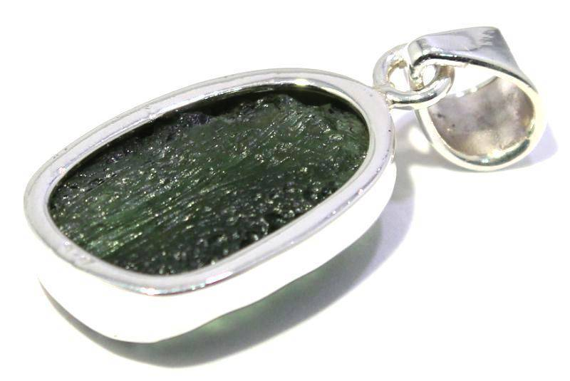 Genuine Natural Moldavite Framed 925 Silver