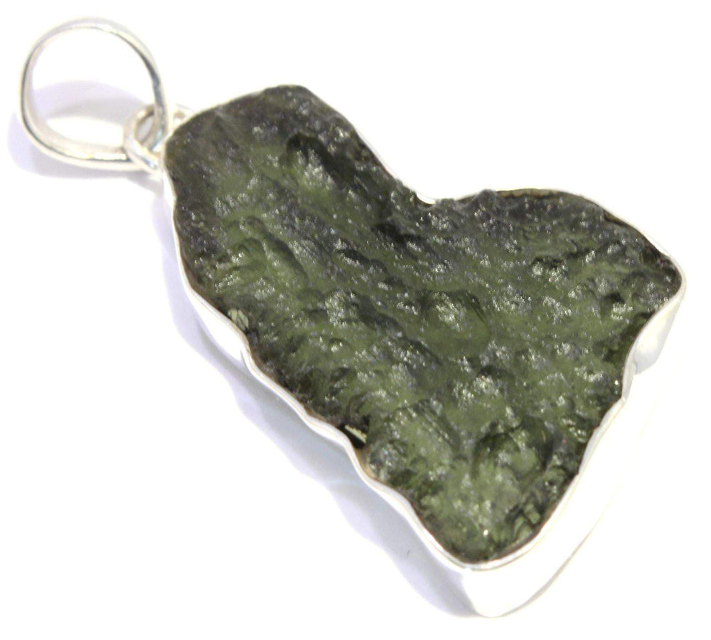 Load image into Gallery viewer, Green Tektite Moldavite Sterling Silver Pendant