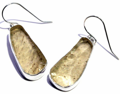 Natural Libyan Desert Glass Earrings French Hook Sterling Silver