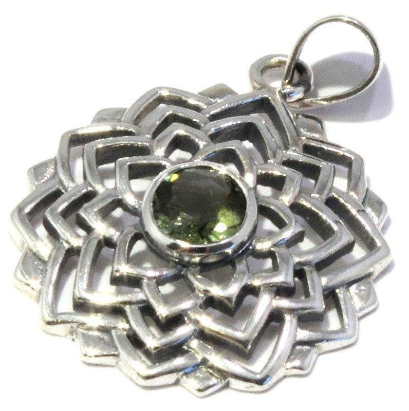 Faceted Moldavite Round Lotus Flower Pendant