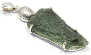 Load image into Gallery viewer, Meteorite Rough Moldavite Tektite Silver Pendant