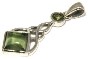 Load image into Gallery viewer, Moldavite Celtic Knot Pendant Sterling Silver