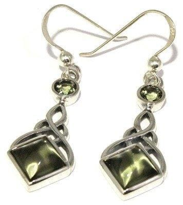 Moldavite Earrings Celtic Knot Dangle Sterling Silver Jewelry