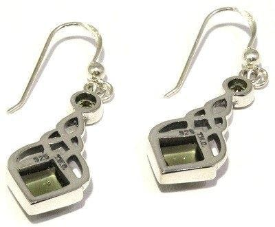 Moldavite Celtic Knot Sterling Silver Earrings