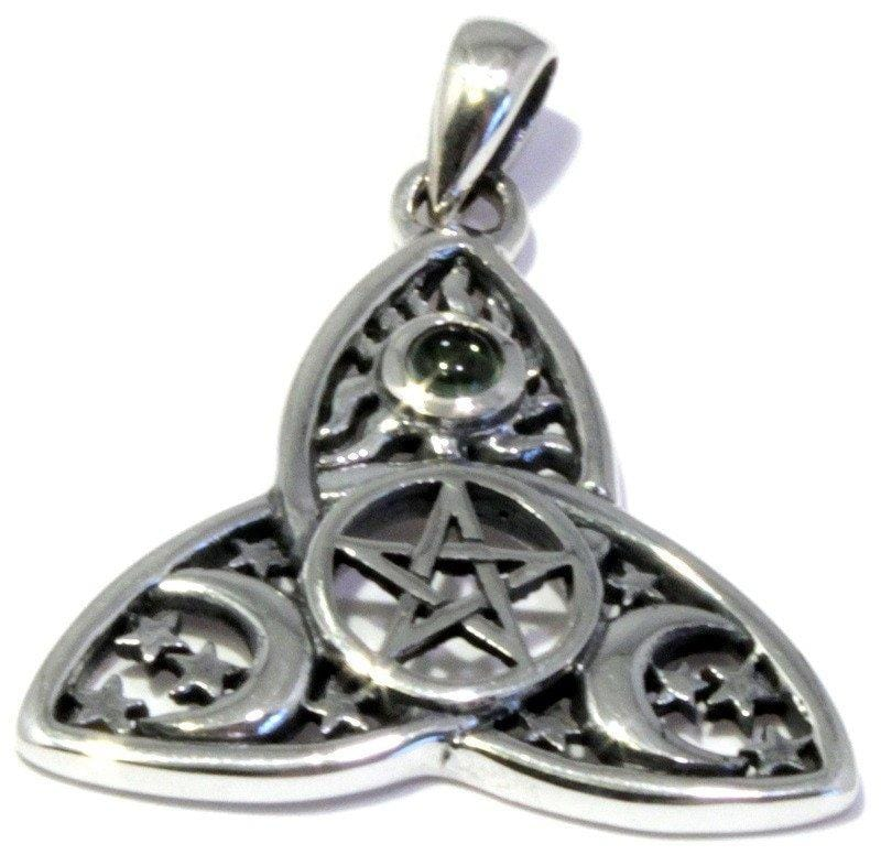 Moldavite Celtic Triple Knot Pendant Sun Moon Pentagram Jewelry
