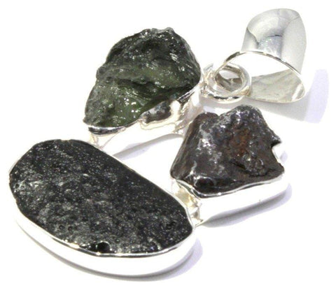 Moldavite Indochinite Iron Meteorite Pendant Sterling Silver