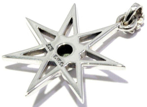 Load image into Gallery viewer, Faceted Moldavite Seven Pointed Elven Star Pendant