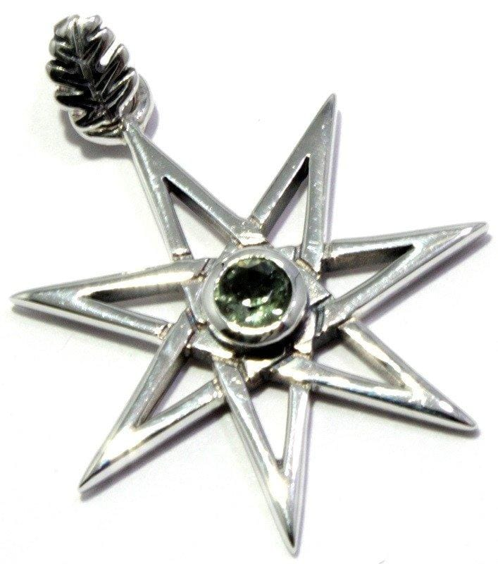 Faceted Moldavite Seven Pointed Elven Star Pendant