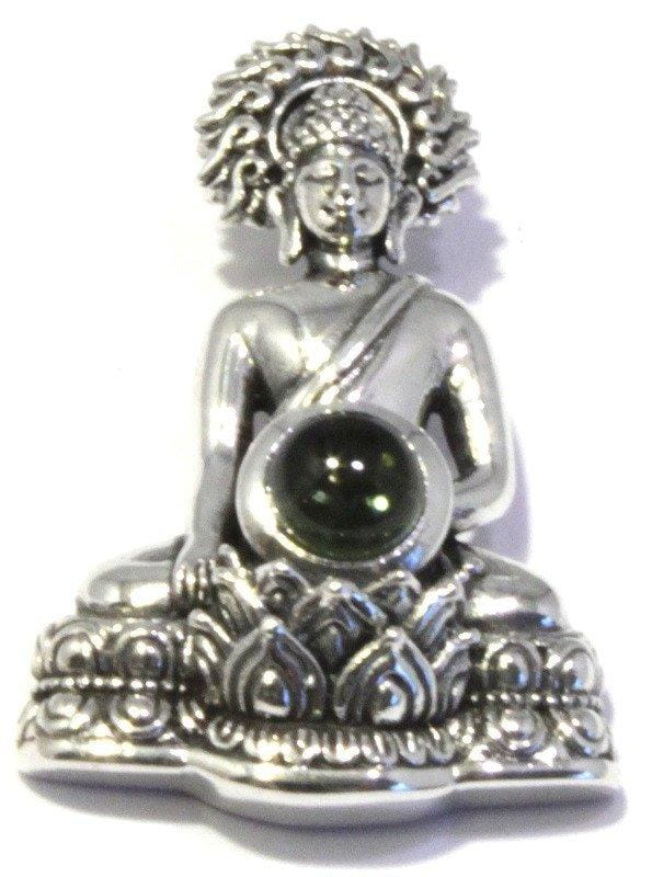 Load image into Gallery viewer, Polished Moldavite Sitting Buddha Pendant Silver