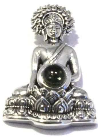 Polished Moldavite Sitting Buddha Pendant Sterling Silver Jewelry