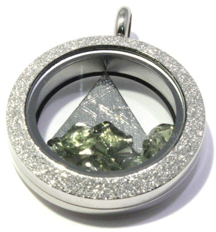 Muonionalusta Iron Meteorite Moldavite Floating Locket Stainless Steel Sparkly Pendant