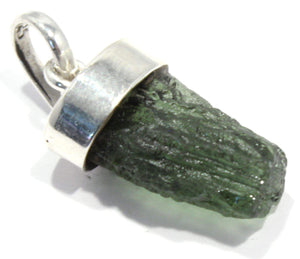 Load image into Gallery viewer, Natural Green Moldavite Tektite Silver Pendant