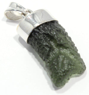 Load image into Gallery viewer, Natural Moldavite Sterling Silver Hanging Bezel