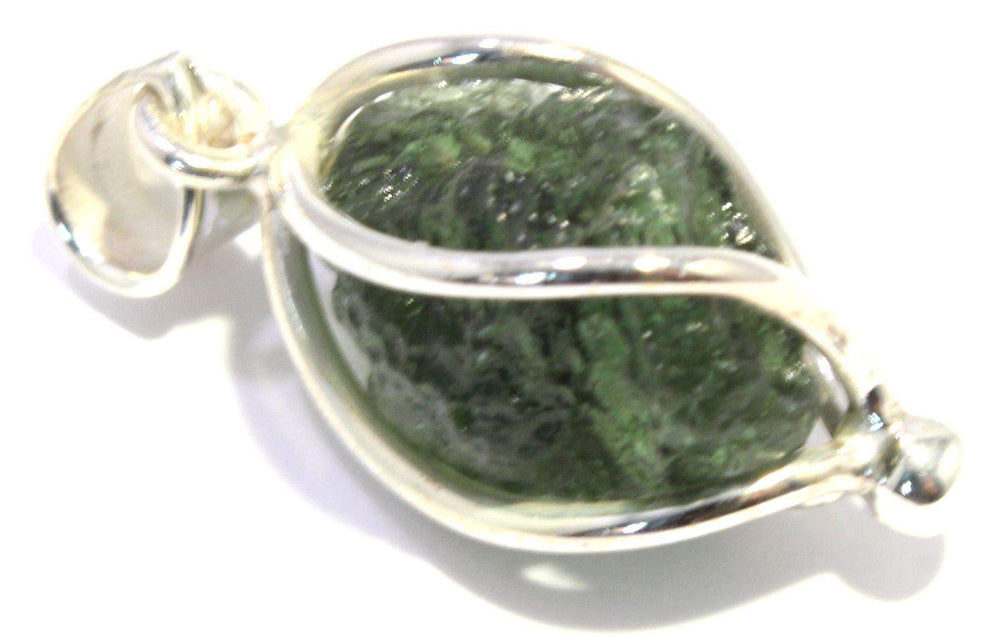 Load image into Gallery viewer, Natural Moldavite Sterling Silver Spiral Pendant
