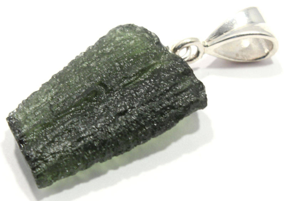 Natural Rough Moldavite Sterling Silver Pendant