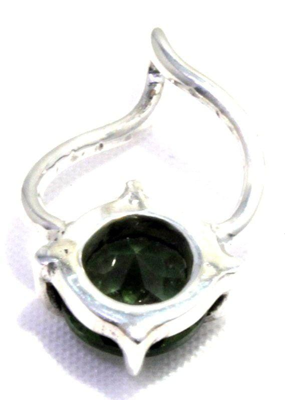 Natural Faceted Moldavite Round Tektite Pendant