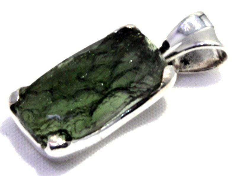 Natural Faceted Rough Back Moldavite Pendant