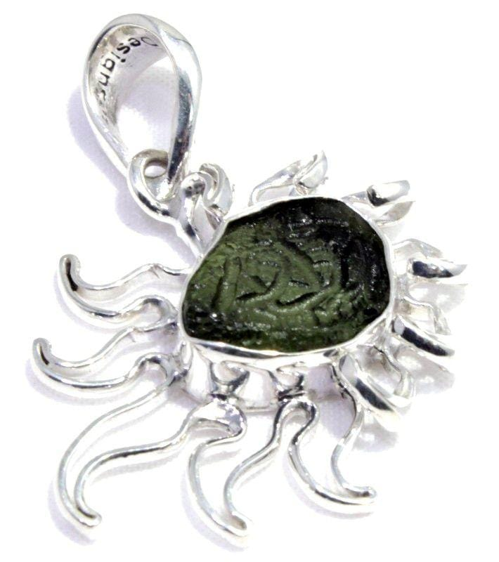 Load image into Gallery viewer, Natural Moldavite Tektite Comet Silver Pendant