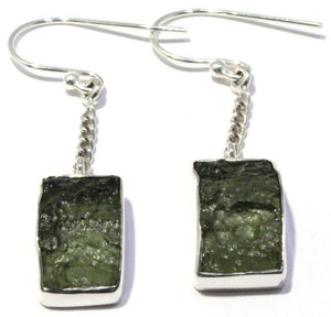 Free Form Moldavite French Hook Earrings