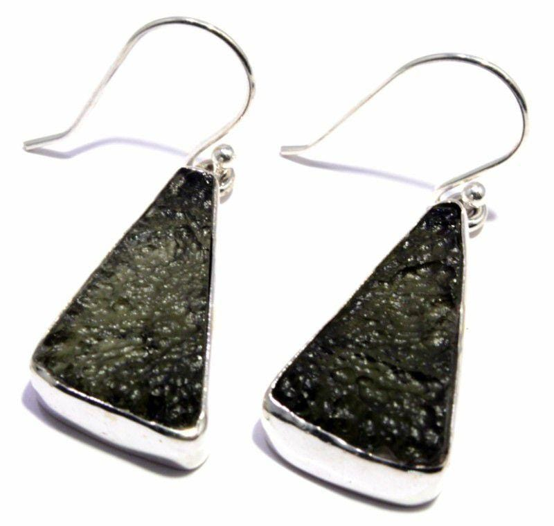 Natural Moldavite Tektite Sterling Silver Earrings