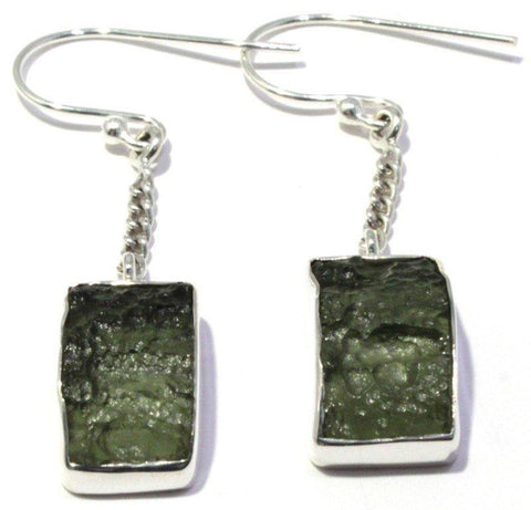 Natural Moldavite Earrings French Hook Sterling Silver