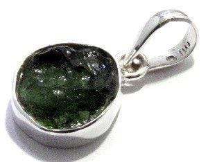 Natural Rough Moldavite Pendant Free Form Jewelry Sterling