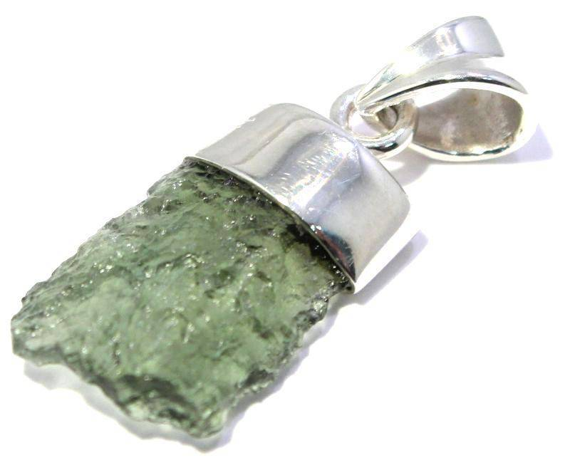 Natural Rough Moldavite Pendant in Sterling Silver