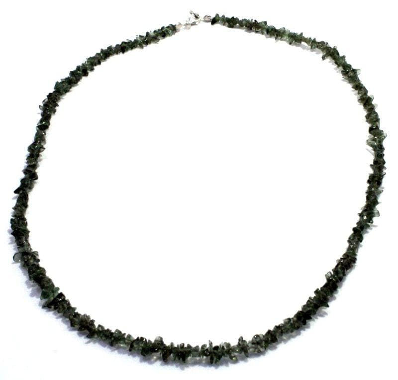 Tumbled Moldavite Bead Necklace Sterling Silver Jewelry