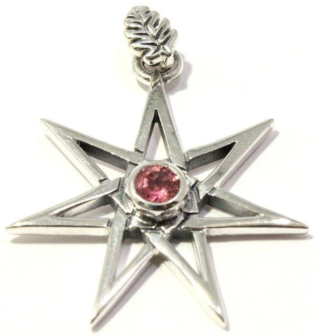 Faceted Pink Tourmaline Pendant Elven Faery Seven Pointed Star Sterling Silver