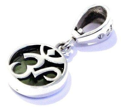 Load image into Gallery viewer, Moldavite Ohm Pendant Sterling Silver