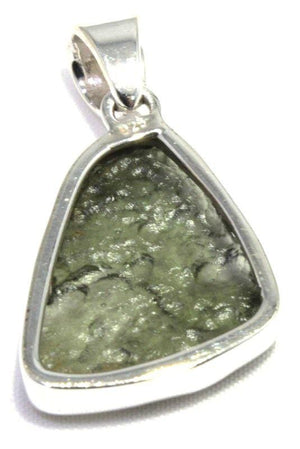 Load image into Gallery viewer, Raw Green Moldavite Tektite Silver Pendant