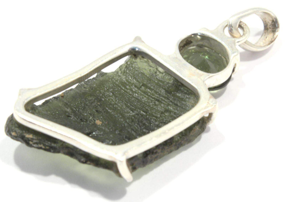 Rough Faceted Moldavite Sterling Silver Pendant