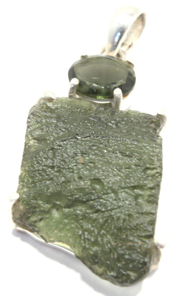 Load image into Gallery viewer, Rough Faceted Moldavite Sterling Silver Pendant