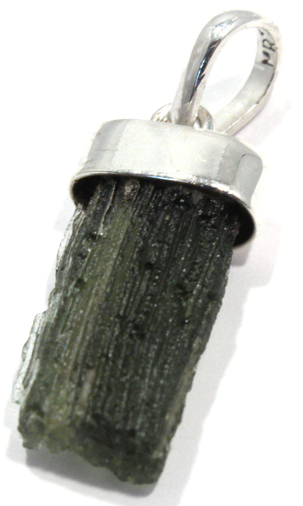 Load image into Gallery viewer, Rough Green Moldavite Sterling Silver Pendant