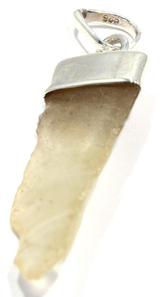 Rough Libyan Desert Glass Silver Pendant
