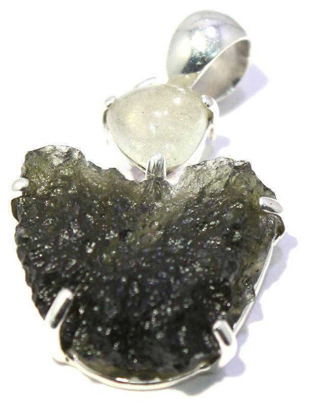 Load image into Gallery viewer, Rough Moldavite Libyan Desert Glass Pendant