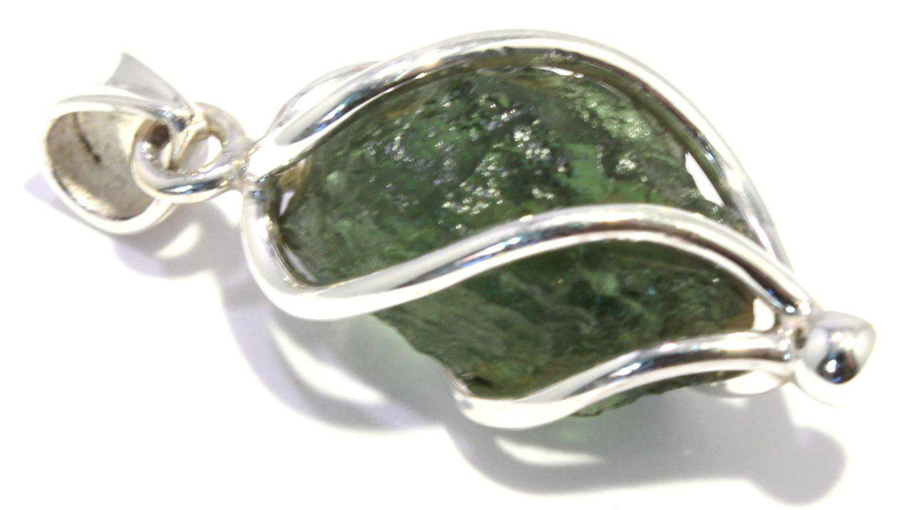 Load image into Gallery viewer, Rough Moldavite Sterling Silver Spiral Pendant