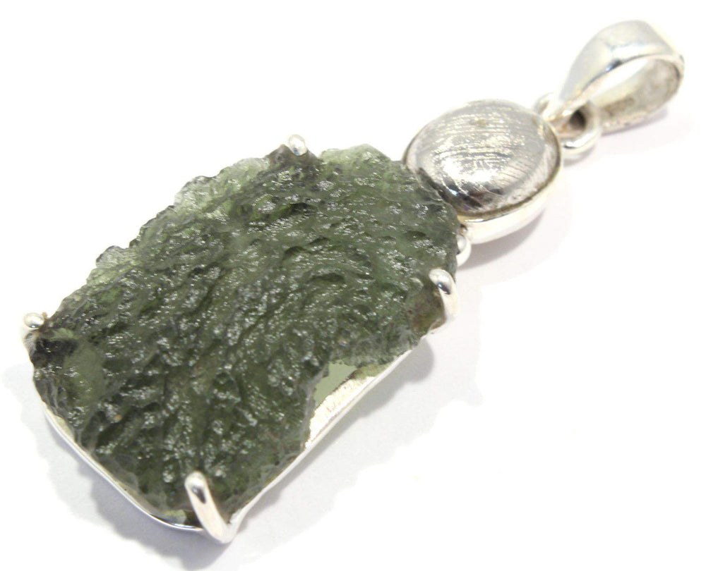 Load image into Gallery viewer, Rough Moldavite Sweden Meteorite Silver Pendant