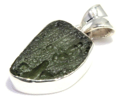 Free Form Moldavite Pendant Sterling Silver Jewelry