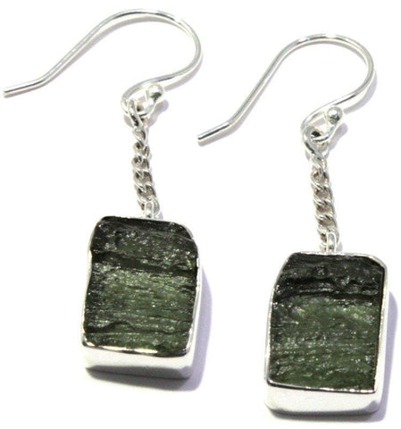 Rough Moldavite Earrings French Hook Sterling Silver