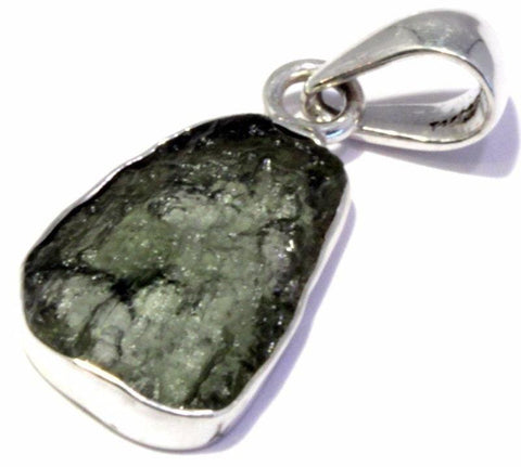 Genuine Natural Moldavite Pendant 925 Sterling Silver Framed