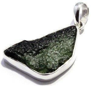 Rough Moldavite Pendant Sterling Silver Tektite Jewelry