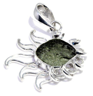 Load image into Gallery viewer, Rough Moldavite Tektite Comet Silver Pendant