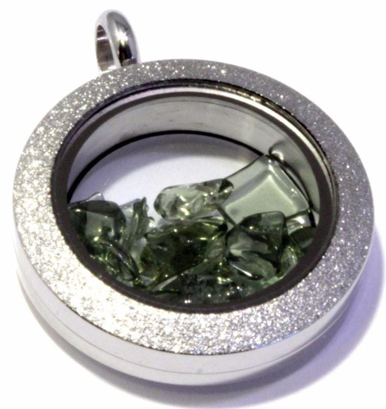 Tumbled Moldavite Sparkly Floating Locket Pendant