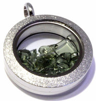 Tumbled Moldavite Floating Locket Stainless Steel Sparkly Pendant