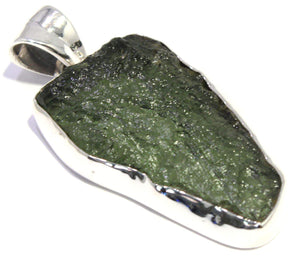 Load image into Gallery viewer, Sterling Silver Rough Green Moldavite Pendant