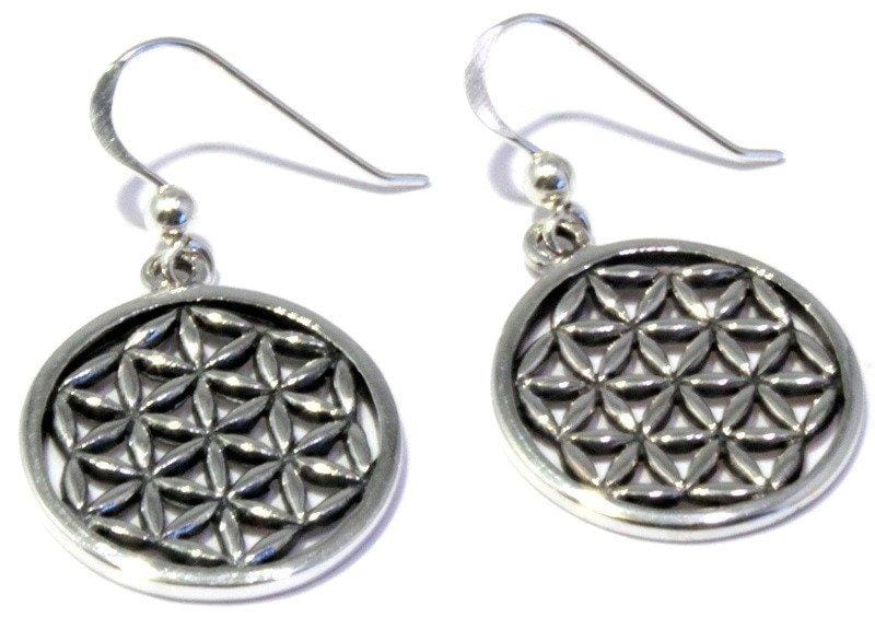 Load image into Gallery viewer, Sterling Silver Flower of Life Earrings