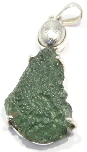 Load image into Gallery viewer, Sweden Meteorite Rough Moldavite Silver Pendant