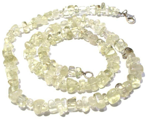 Tumbled Libyan Desert Glass Bead Necklace Sterling Silver Jewelry