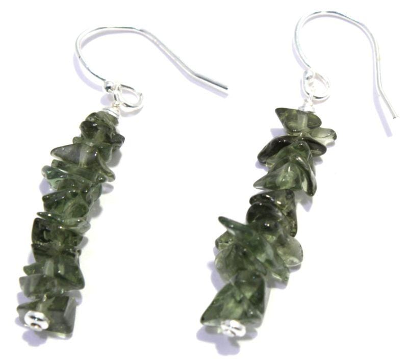 Genuine Tumbled Moldavite Earrings 925 Sterling Silver
